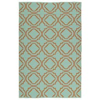 Indoor/Outdoor Laguna Turquoise and Orange Geo Flat-Weave Rug - 9' x 12'
