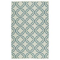 Indoor/Outdoor Laguna Ivory and Teal Geo Flat-Weave Rug - 9' x 12'