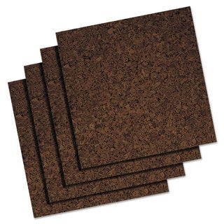 Quartet 12 x 12 Brown Cork Panel Bulletin Board