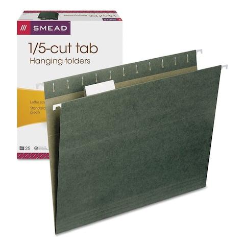 Smead Hanging Folders, 1/5 Tab, Letter, Green, 25/Box