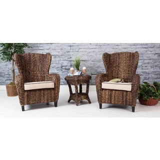 somette 3piece rattan indoor outdoor sloped arm chair and table set - Club Chair