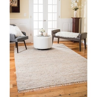 Natural Area Rugs Hand-woven Brilliance Jute Leather Rug (9' x 12') with Bonus Rug Pad