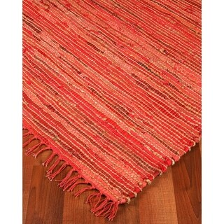 Natural Area Rugs Hand-woven Concepts Jute Leather Rug (8' x 10') with Bonus Rug Pad