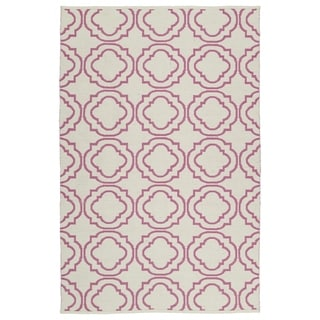 Indoor/Outdoor Laguna Ivory and Pink Geo Flat-Weave Rug (8'0 x 10'0)