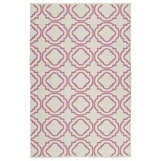 Indoor/Outdoor Laguna Ivory and Pink Geo Flat-Weave Rug (8' x 10')