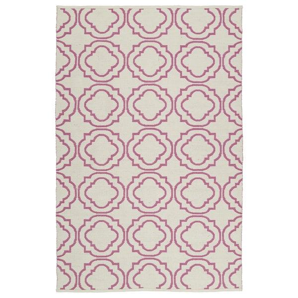 Indoor/Outdoor Laguna Ivory and Pink Geo Flat-Weave Rug - 9' x 12'