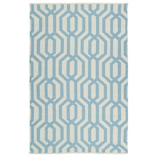Indoor/Outdoor Laguna Ivory and Spa Blue Geo Flat-Weave Rug (9'0 x 12'0) - 9' x 12'