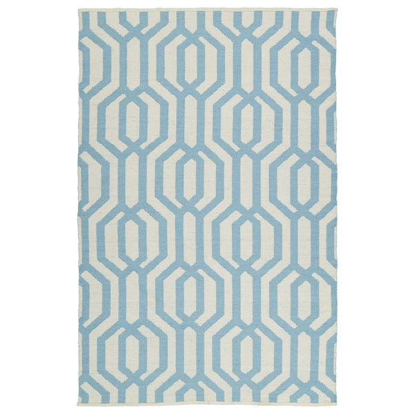 Indoor/Outdoor Laguna Ivory and Spa Blue Geo Flat-Weave Rug - 9' x 12'
