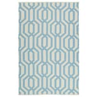 Indoor/Outdoor Laguna Ivory and Spa Blue Geo Flat-Weave Rug - 9' x 12'
