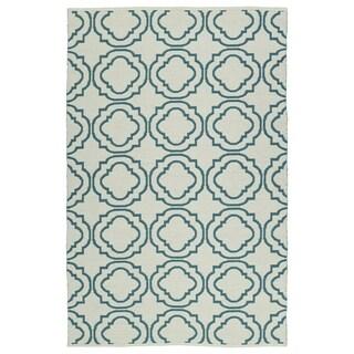 Indoor/Outdoor Laguna Ivory and Teal Geo Flat-Weave Rug - 3' x 5'