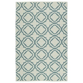 Indoor/Outdoor Laguna Ivory and Teal Geo Flat-Weave Rug (5'0 x 7'6) - 5' x 7'6""