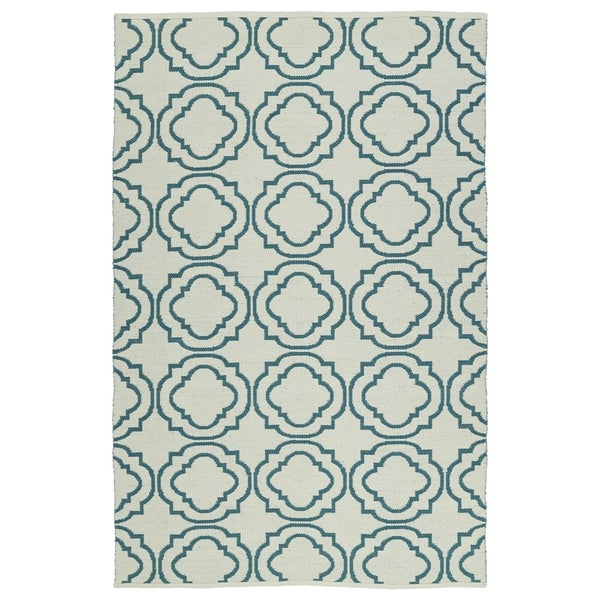 Indoor/Outdoor Laguna Ivory and Teal Geo Flat-Weave Rug - 8' x 10'