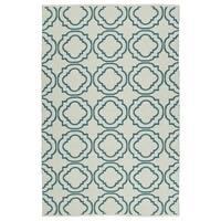 Indoor/Outdoor Laguna Ivory and Teal Geo Flat-Weave Rug - 8' x 10'