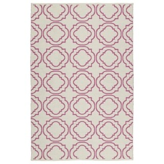 Indoor/Outdoor Laguna Ivory and Pink Geo Flat-Weave Rug (2'0 x 3'0) - 2' x 3'