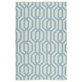 Indoor/Outdoor Laguna Ivory and Spa Blue Geo Flat-Weave Rug - 2' x 3'