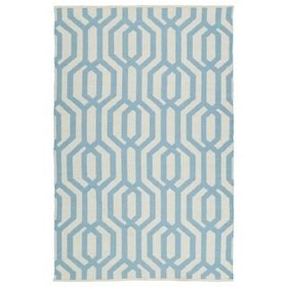 "Indoor/Outdoor Laguna Ivory and Spa Blue Geo Flat-Weave Rug (5'0 x 7'6) - 5' x 7'6"""