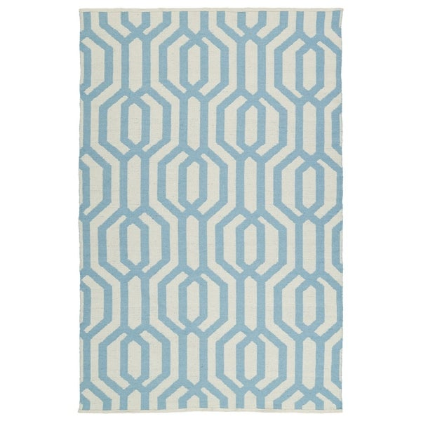 Indoor/Outdoor Laguna Ivory and Spa Blue Geo Flat-Weave Rug - 8' x 10'