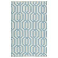 Indoor/Outdoor Laguna Ivory and Spa Blue Geo Flat-Weave Rug - 8' x 10'