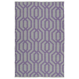 Indoor/Outdoor Laguna Grey and Lilac Geo Flat-Weave Rug (8'0 x 10'0)