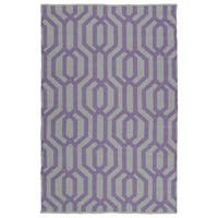 Indoor/Outdoor Laguna Grey and Lilac Geo Flat-Weave Rug - 8' x 10'