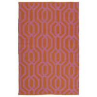 Indoor/Outdoor Laguna Paprika and Pink Geo Flat-Weave Rug - 9' x 12'