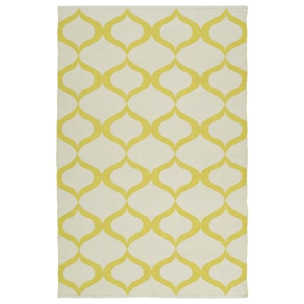 Indoor/Outdoor Laguna Ivory and Yellow Geo Flat-Weave Rug - 9' x 12'