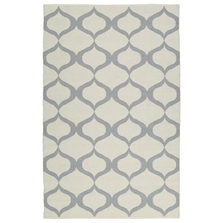 Indoor/Outdoor Laguna Ivory and Grey Geo Flat-Weave Rug (3'0 x 5'0) - 3' x 5'