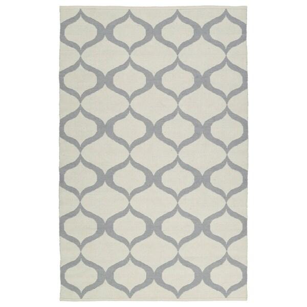 Indoor/Outdoor Laguna Ivory and Grey Geo Flat-Weave Rug - 8' x 10'