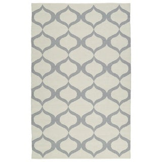Indoor/Outdoor Laguna Ivory and Grey Geo Flat-Weave Rug (8'0 x 10'0)