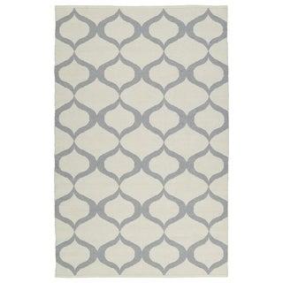 Indoor/Outdoor Laguna Ivory and Grey Geo Flat-Weave Rug (9'0 x 12'0) - 9' x 12'