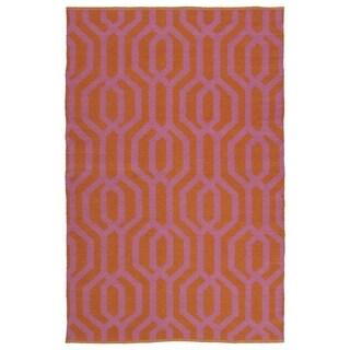 """Indoor/Outdoor Laguna Paprika and Pink Geo Flat-Weave Rug (5' x 7'6"""")"""