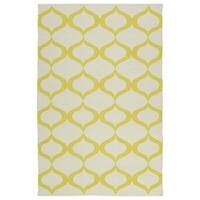 Indoor/Outdoor Laguna Ivory and Yellow Geo Flat-Weave Rug - 5' x 7'6""