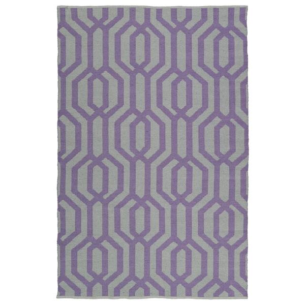 Indoor/Outdoor Laguna Grey and Lilac Geo Flat-Weave Rug - 9' x 12'