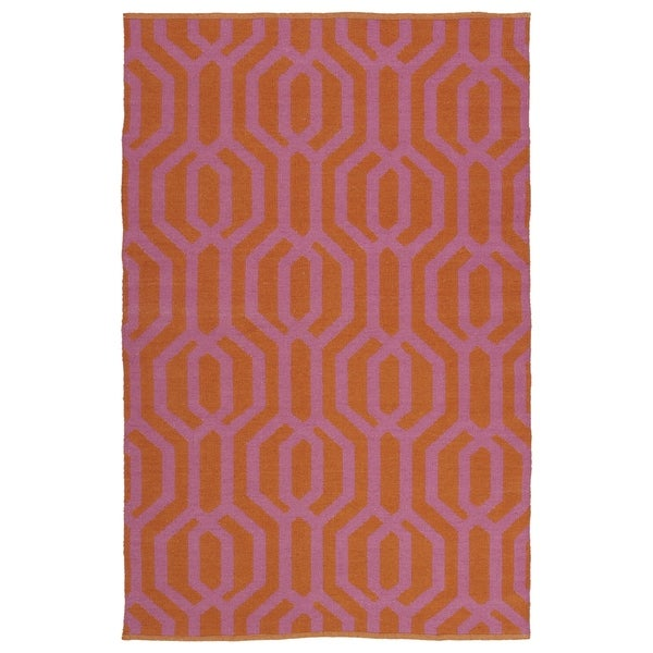 Indoor/Outdoor Laguna Paprika and Pink Geo Flat-Weave Rug - 8' x 10'
