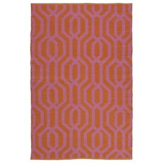 Indoor/Outdoor Laguna Paprika and Pink Geo Flat-Weave Rug (8'0 x 10'0)