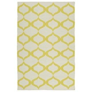 Indoor/Outdoor Laguna Ivory and Yellow Geo Flat-Weave Rug (8'0 x 10'0)