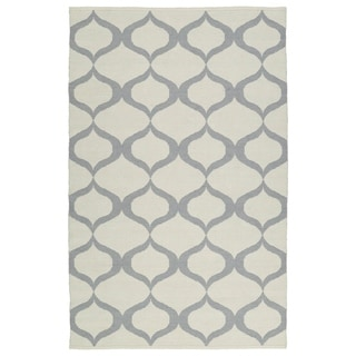 Indoor/Outdoor Laguna Ivory and Grey Geo Flat-Weave Rug (2'0 x 3'0) - 2' x 3'