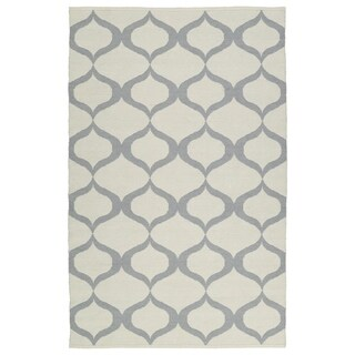 Indoor/Outdoor Laguna Ivory and Grey Geo Flat-Weave Rug (2' x 3')
