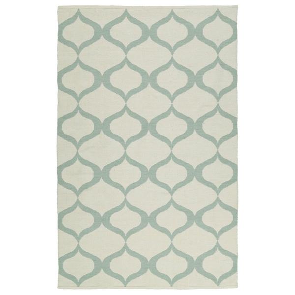 Indoor/Outdoor Laguna Ivory and Mint Geo Flat-Weave Rug (2'0 x 3'0) - 2' x 3'