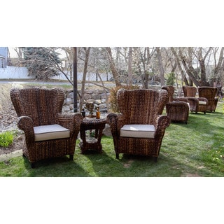 Somette 3-piece Rattan Indoor/ Outdoor Rolled Arm Chair and Table Set