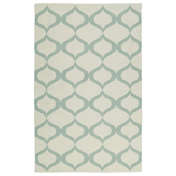 Indoor/Outdoor Laguna Ivory and Mint Geo Flat-Weave Rug - 9' x 12'