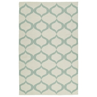 Indoor/Outdoor Laguna Ivory and Mint Geo Flat-Weave Rug (9'0 x 12'0)