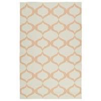 Indoor/Outdoor Laguna Ivory and Pink Geo Flat-Weave Rug - 2' x 3'