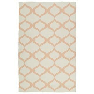 Indoor/Outdoor Laguna Ivory and Pink Geo Flat-Weave Rug (3'0 x 5'0)