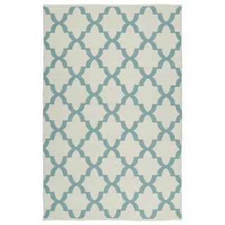 Indoor/Outdoor Laguna Ivory and Seafoam Trellis Flat-Weave Rug (9'0 x 12'0)