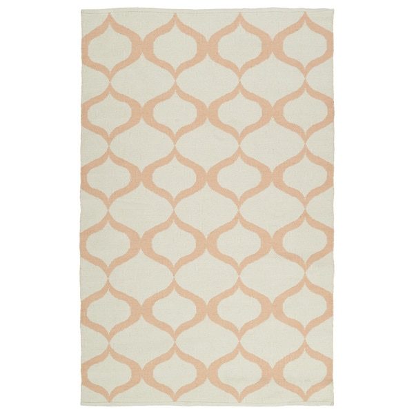Indoor/Outdoor Laguna Ivory and Pink Geo Flat-Weave Rug - 8' x 10'