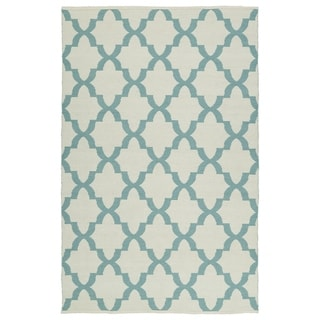 Indoor/Outdoor Laguna Ivory and Seafoam Trellis Flat-Weave Rug (5'0 x 7'6) - 5' x 7'6""
