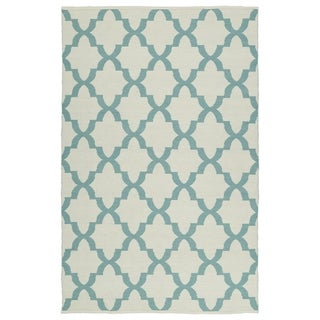 Indoor/Outdoor Laguna Ivory and Seafoam Trellis Flat-Weave Rug (8'0 x 10'0) - 8' x 10'
