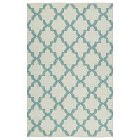 Indoor/Outdoor Laguna Ivory and Seafoam Trellis Flat-Weave Rug - 8' x 10'