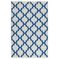 Indoor/Outdoor Laguna Ivory and Navy Trellis Flat-Weave Rug - 8' x 10'
